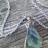 Green Fluorite Necklace, Raw Crystal Pendant, Gemstone Necklace, boho Necklace, Gypsy jewelry, green jewelry, Good luck jewelry,wiccan pagan