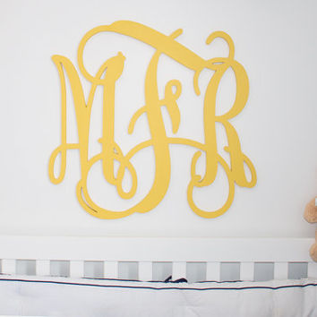 "Wooden monogram 24"" painted wooden monogram wall decor Personalized nursery monogram  wedding monogram  Large monogram above crib"