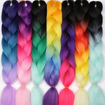 ONETOW MISS WIG Ombre Kanekalon Braiding Hair Extensions 24inch 100g Jumbo Braids Synthetic Hair Fiber Pink Purple Blue Green 1pce