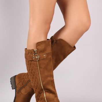 Prineville Quilted Suede Knee High Riding Boots