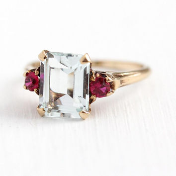 Vintage Aquamarine Ring - 10k Rosy Yellow Gold Created Ruby Accent Statement - 1940s Size 7 3/4 Emerald Cut Light Blue & Red Stone Jewelry