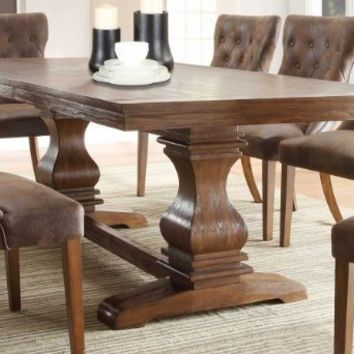 Homelegance Marie Louise Expandable Trestle Dining Table - Weathered Oak