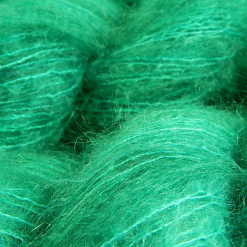Hand Dyed Yarn - Superfine Kid Mohair / Silk Yarn (Lightweight) - Potluck Jade - Limited Edition - Knitting Yarn, Mohair Yarn, Green