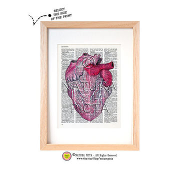 Watercolor Anatomical Heart Study dictionary print-Human Heart print-Anatomy print-Heart on book page-Upcycled dictionary art-NATURA PICTA