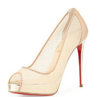 Christian Louboutin Very Rete 120mm Red Sole Pump, Beige