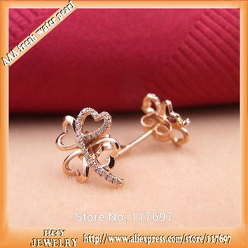 luxurious 100% real 18K rose gold with VS2 diamond fashion clover design korean jewelry stud earrings for women