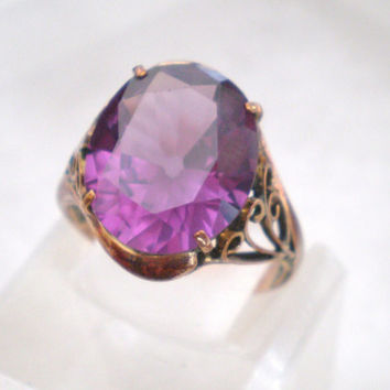 Amethyst ring / Huge oval stone / possibly color change sapphire / 14kt or 18kt yellow gold / filigree scroll band / gift / statement ring