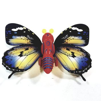 """Cute Insect Black & Yellow Wing Mini Red Butterfly Moving 5.15"""" Wingspan Wind Up Plastic Figure Toy"""