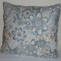 Decorative Pillow Cover Designer Fabric Misty by Red Rooster Big Flowers Blue White Tan 18x18