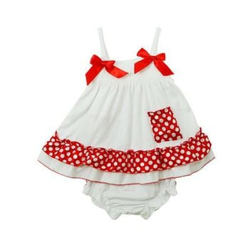 Baby Girls Sling Princess Dress + Bloomers Romper  Suit