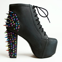 Jeffrey Campbell Lita Platform Boot in Black with Rainbow Spikes