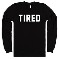tired-Unisex Black T-Shirt
