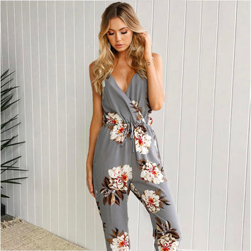 T-shirts Summer Hot Sale Print Spaghetti Strap Jumpsuit [11234295887]