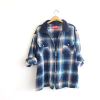 Vintage blue Flannel Jacket / Grunge Shirt / Zipper up shirt coat / plus size shirt
