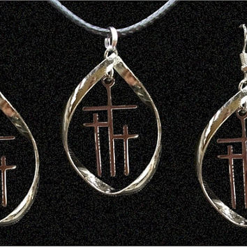 Infinity Twist Hoop Calvary 3 Cross Earrings Necklace Silver Gold Christian Religious - Saint Michaels Jewelry - Calvary Three Cross