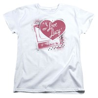 I Love Lucy Womens T-Shirt Vintage TV with Logo White Tee