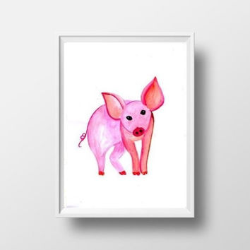Cute piggy watercolor painting wall art print poster decor baby girl room decal print pink pig farm domestic animal cub large small nursery