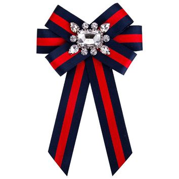 New Bow Crystal Women Brooches Pins Canvas Fabric Bowknot Tie Necktie Corsage Brooch for Women Clothing Dress Accessories