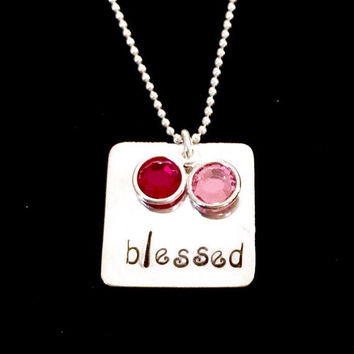 Blessed: Sterling Silver Hand Stamped Square Necklace with up to 3 Swarovski Crystal Birthstones included! Perfect gift for Mom!