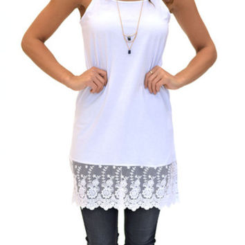 Long Layering Lace Trim Tank- White