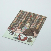 Fantasy nature illustration forest girl story ACEO print