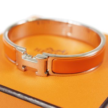 HERMES Clic Clac H Bangle Bracelet Silver Orange Enamel Vintage Authentic #D7 M