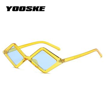 YOOSKE 2018 Skinny Sunglasses Women Retro Unique Design Small Cat Eye Sun Glasses Female Tiny Candy Color Purple Yellow Glasses