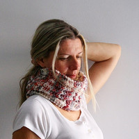 Women infinity scarf, Echo Cowl, in white red grey