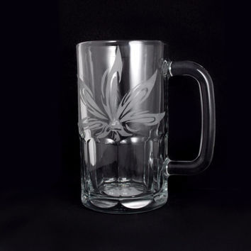 Hand Etched Glass Beer Mug with Weed Leaf Design 20 oz ( Cannabis Leaf ) Made To Order Personalized name or initials