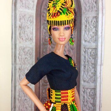 Dress For Barbie Doll - Kente Print Dress, Head Wrap, Earrings, Purse, and Shoes