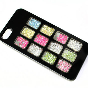 iPhone 5 Case Cover in Black with Clear Windows and inside beads - Very Unique