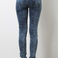 Acid Wash Distress High Waisted Jeans