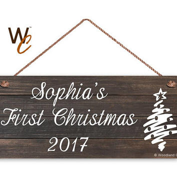 "Baby's First Christmas Sign, Personalized 6""x14"" Sign, Custom Baby Name, 1st Christmas Display, Dark Wood Style, Christmas Tree Sign, Gift"