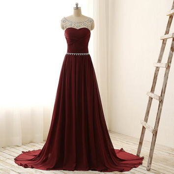 Burgundy Prom Dress, Cap Sleeve Prom Dress, Crystal Beaded Prom Dress, Long Chiffon Pleated Top Boat Neck V Back Crystal Waist Prom Dress