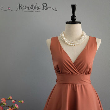 My Lady II Spring Summer Sundress Dress Reddish Brown Nude Party Dress Reddish Brown Bridesmaid Dress Garden Party Brown Nude Dresses XS-XL