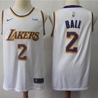 Men's Los Angeles Lakers Lonzo Ball Nike White Swingman Jersey - Association Edition - Best Deal Online