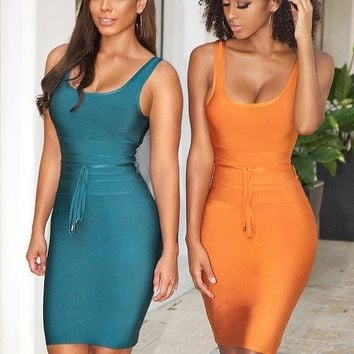 Alsu Waist Belt Bandage Midi dress