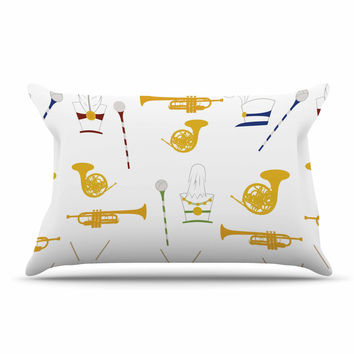 "Stephanie Vaeth ""Marching Band"" Gold Illustration Pillow Case"