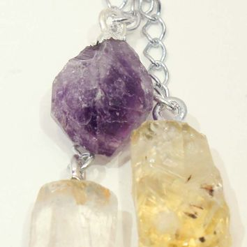 Quartz Crystal , Amethyst and Citrine Point Pendant