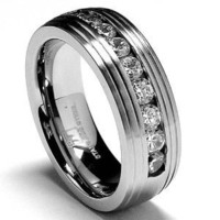 8MM Matte Finish Stainless Steel Ring Wedding Band with CZ sizes 7 to 12