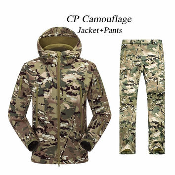 Hot Sale TAD Gear Soft Shell Camouflage Outdoor Wargame Jacket Set Army Sport Waterproof Hunting Uniform Clothes Jacket Pants