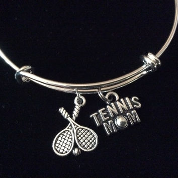 Tennis Mom Expandable Adjustable Wire Bangle Bracelet Sports Jewelry Gift Unique Trendy Coach Team Gift One Size Fits All
