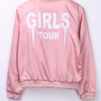 "Gagaopt Letter Print""GIRLS TOUR""Bomber Jacket Women Pink Souvenir Jacket Coat Casual Baseball Jacket Women Basic Coats Sukajan"
