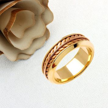 Personalized Name Ring For Men And Women 14K Gold Promise Ring Wedding Band Two Tone Gold 8mm Braided Comfort Fit - JN343 Hand Made