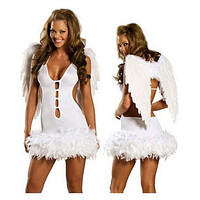 Halloween Garment White Cute Angel with Wings Costume