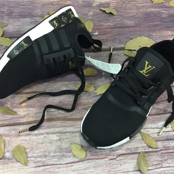 Best Online LV x Adidas NMD R1 Black Gold BY3088 Sport Running Shoes Classic Casual Shoes Sneakers