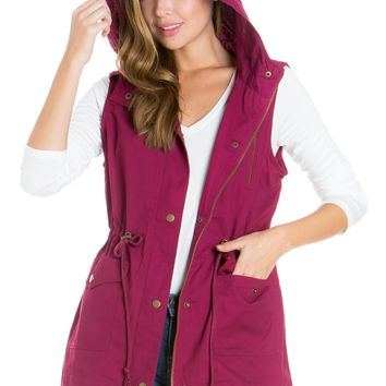 Wine Anorak Military utility Jacket Vest with Drawstring