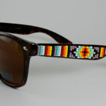 Beaded Sunglasses Tortoise and Mauve