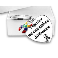 "Autism and Asperger Awareness Ribbon Key Chain with words ""Together We Can Make A Difference"" in a Gift Box"