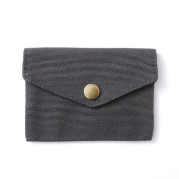 Minimalist Canvas Wallet Slim Snap Wallet Gray